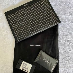 NEW YSL POUCH CASE BLACK LEATHER W SILVER GROMMETS